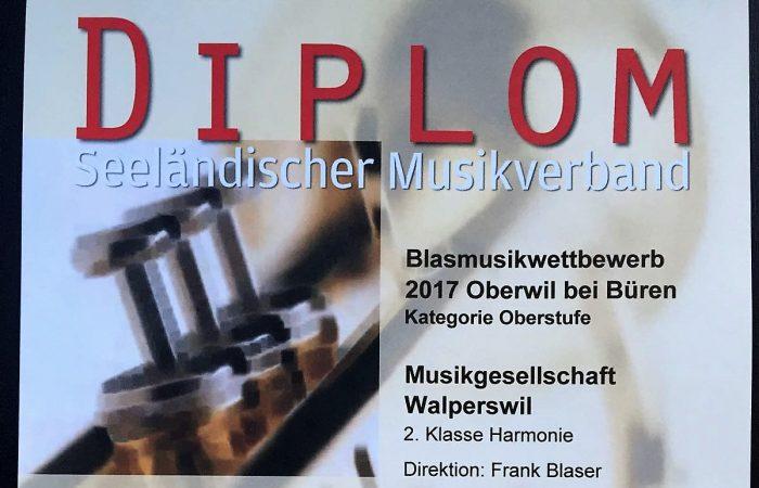 Zweiter Rang für MG Walperswil (Oberwil 2017)