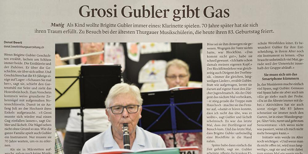 Grosi Gubler gibt Gas und lernt mit 80 Klarinette