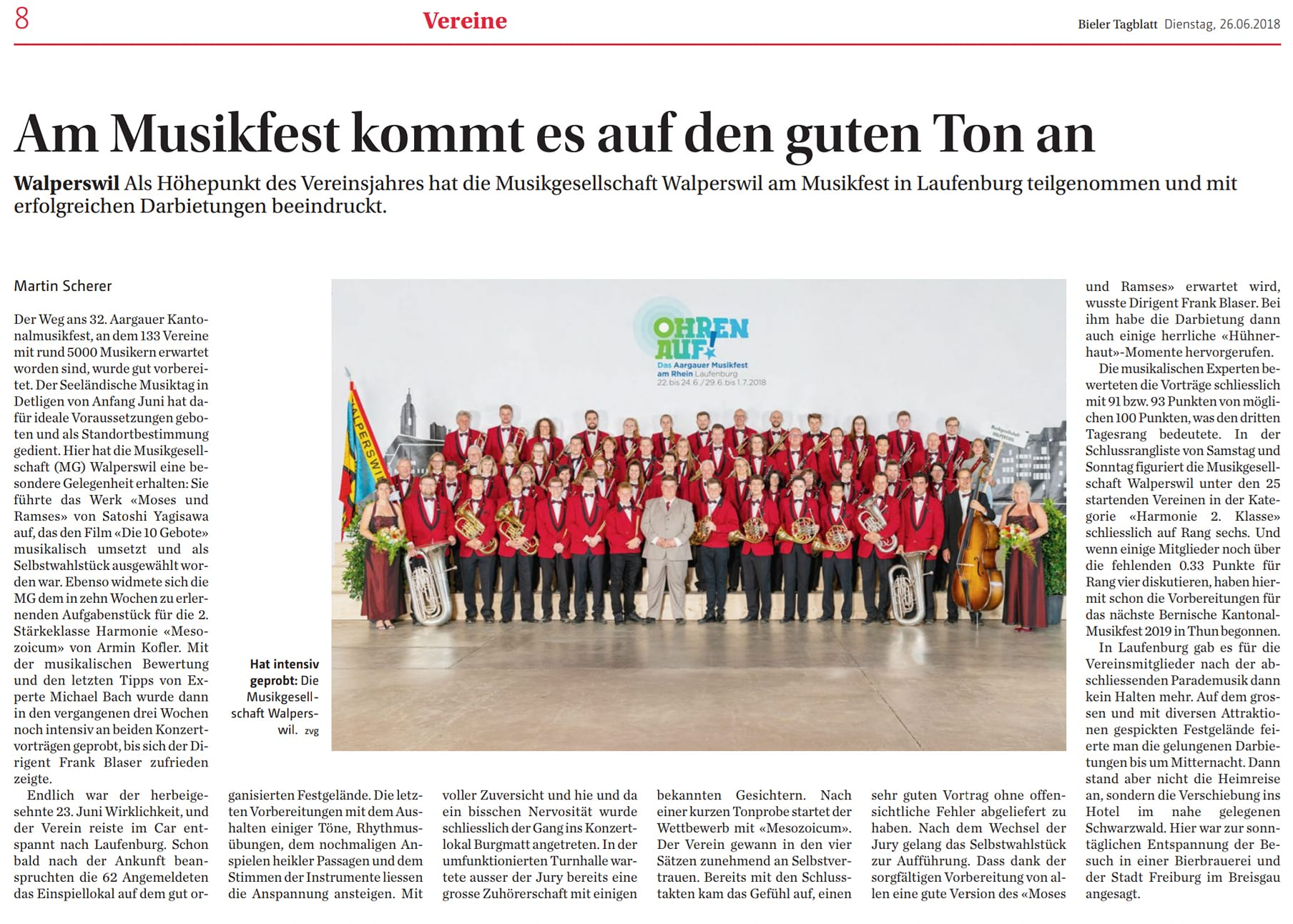 Beitrag im Bieler Tagblatt vom 26.06.2018