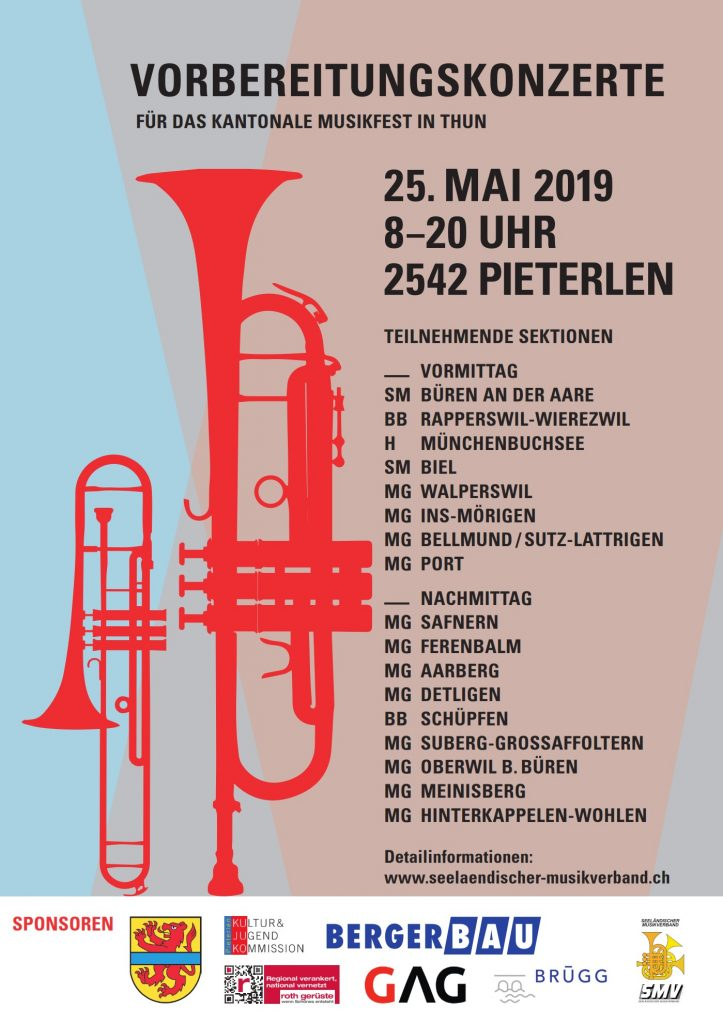 Im Bild zu sehen ist eine Trompete, eine Posaune und die Details zum Konzert.