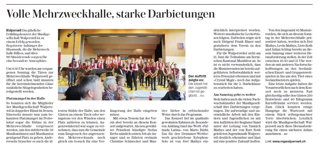 Bericht im Bieler Tagblatt über das Frühlingskonzert der MGW