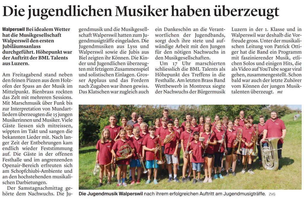 Text Bieler Tagblatt, 24. August 2021
